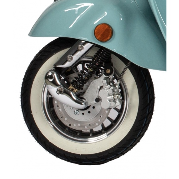 blue moped white tire